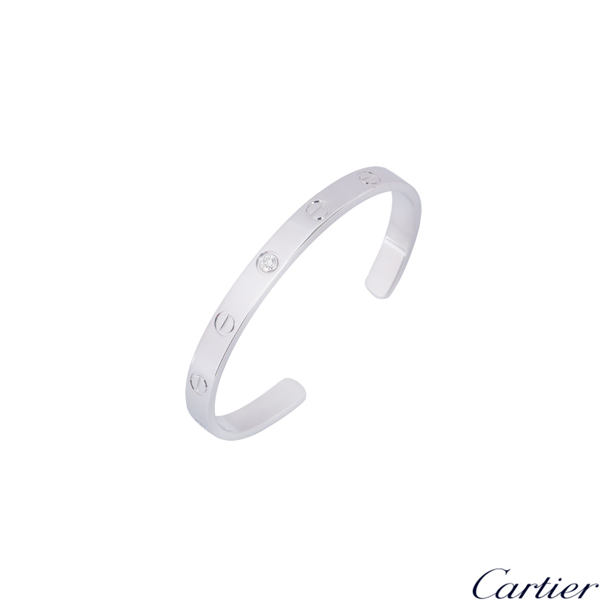 Cartier White Gold Diamond Cuff Love Bracelet Size 16 B6029916